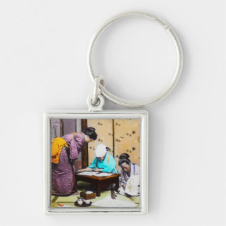 Vintage Geisha in Old Japan Reading Silver-Colored Square Key Ring