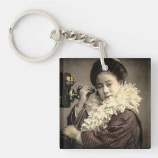 Vintage Geisha Making a Midnight Call in Old Japan Key Ring