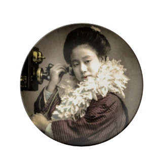 Vintage Geisha Making a Midnight Call in Old Japan Plate