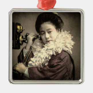 Vintage Geisha Making a Midnight Call in Old Japan Silver-Colored Square Decoration