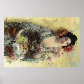 Vintage Geisha Poster