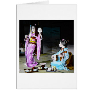 Vintage Geisha Practicing Classic Noh Dancing Card