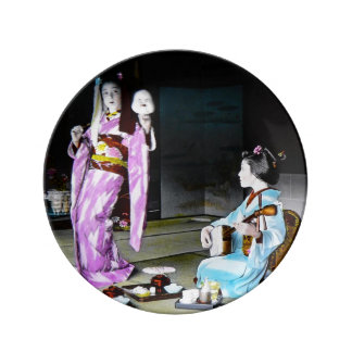 Vintage Geisha Practicing Classic Noh Dancing Plate