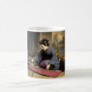 Vintage Geisha Preparing Her Kimono in Old Japan Coffee Mug