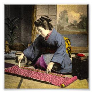 Vintage Geisha Preparing Her Kimono in Old Japan Photo Print