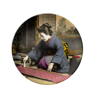 Vintage Geisha Preparing Her Kimono in Old Japan Plate
