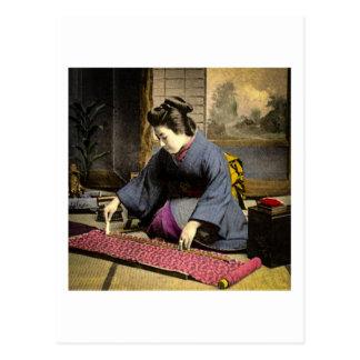 Vintage Geisha Preparing Her Kimono in Old Japan Postcard