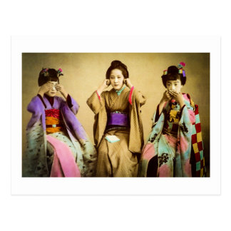Vintage Geisha See No Evil Old Japan Postcard