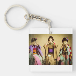 Vintage Geisha See No Evil Old Japan Single-Sided Square Acrylic Key Ring