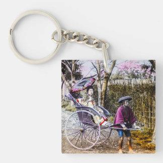 Vintage Geisha Traveling in Rickshaw Old Japan Key Ring