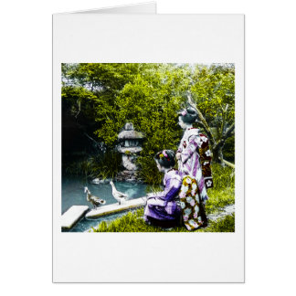 Vintage Geisha Watching Ducks in Park Old Japan Card