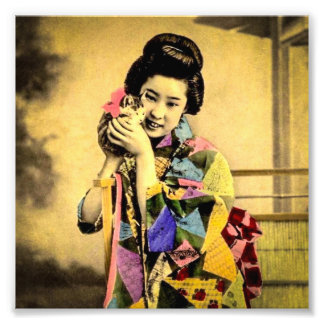 Vintage Geisha with a Cute Kitten Old Japan Photo Print