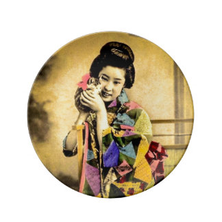 Vintage Geisha with a Cute Kitten Old Japan Plate