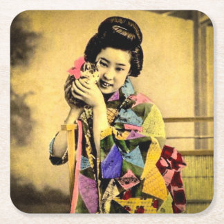 Vintage Geisha with a Cute Kitten Old Japan Square Paper Coaster