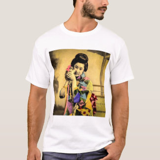 Vintage Geisha with a Cute Kitten Old Japan T-Shirt