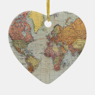 Vintage General Map of the World Ceramic Heart Decoration