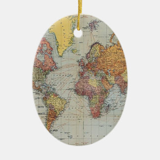 Vintage General Map of the World Ceramic Oval Decoration