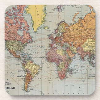 Vintage General Map of the World Drink Coaster
