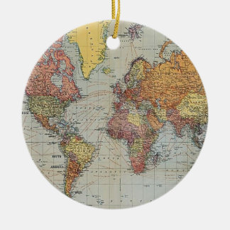 Vintage General Map of the World Round Ceramic Decoration