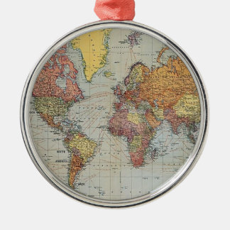 Vintage General Map of the World Silver-Colored Round Decoration