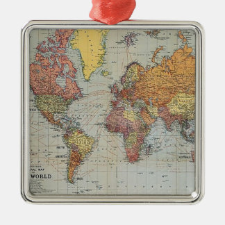 Vintage General Map of the World Silver-Colored Square Decoration