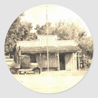 Vintage General Store with Antique Auto Classic Round Sticker