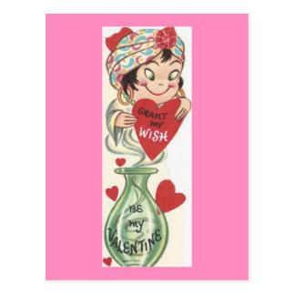 Vintage Genie Valentine Postcard