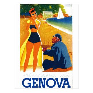 Vintage Genova Italy Tourism Postcard
