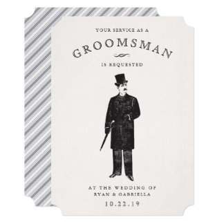 Vintage Gent | Groomsman Request Card