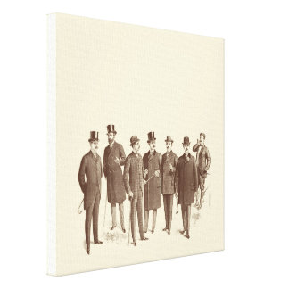 Vintage Gentlemen 1800s Men's Fashion Brown Beige Canvas Print