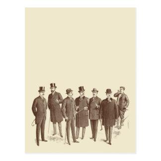 Vintage Gentlemen 1800s Men's Fashion Brown Beige Postcard