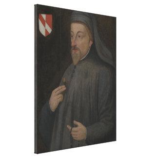 Vintage Geoffrey Chaucer Portrait Painting Canvas Print