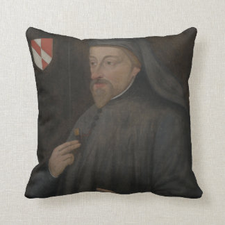 Vintage Geoffrey Chaucer Portrait Painting Cushion