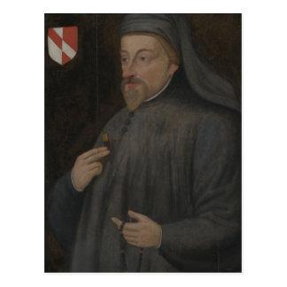 Vintage Geoffrey Chaucer Portrait Painting Postcard