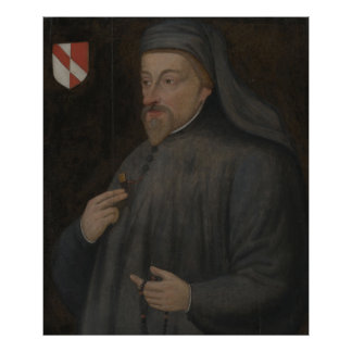 Vintage Geoffrey Chaucer Portrait Painting Poster