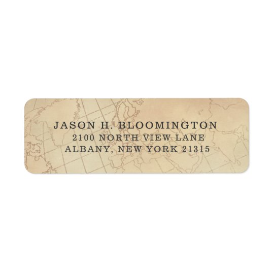 Vintage Geography Map | Return Address Return Address Label