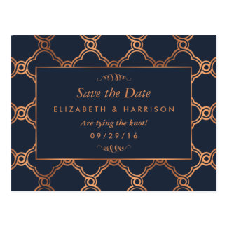 Vintage Geometric Art Deco Gatsby Save The Date Postcard