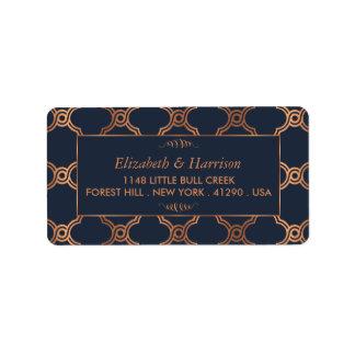 Vintage Geometric Art Deco Gatsby Wedding Address Label