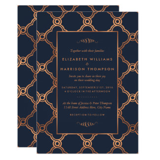 Vintage Geometric Art Deco Gatsby Wedding Card