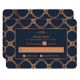 Vintage Geometric Art Deco Gatsby Wedding RSVP Card