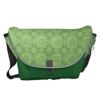 Vintage Geometric Circles in Bright Green Messenger Bag