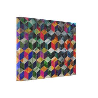 Vintage Geometric Cubes Canvas Print