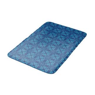 Vintage Geometric Floral Blue on Blue Bath Mat