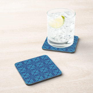 Vintage Geometric Floral Blue on Blue Drink Coasters