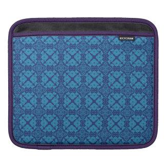 Vintage Geometric Floral Blue on Blue iPad Sleeve