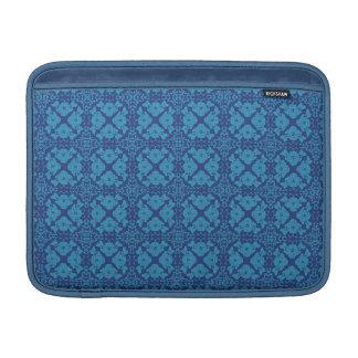 Vintage Geometric Floral Blue on Blue MacBook Sleeves