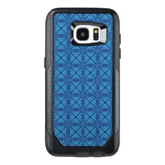 Vintage Geometric Floral Blue on Blue OtterBox Samsung Galaxy S7 Edge Case