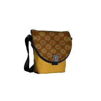 Vintage Geometric Floral in Gold Messenger Bags