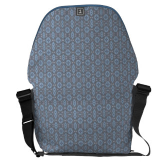 Vintage Geometric Floral in Gray and Light Blue Messenger Bags