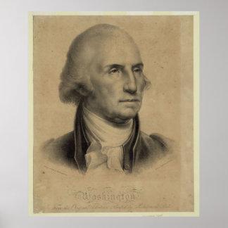 Vintage George Washington Portrait Illustration Poster